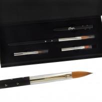 Kit Premium Brush Case Tres Pinceles Para Uñas Esculpidas
