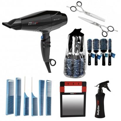 Combo Tijera Corte + Tijera Pulir + Pulverizador + Pack Cepillos + Pack Peines + Espejo + Secador