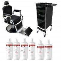 Sillón Barbero Retro + Módulo Andrew + Shampoo + Acondicionador + Tratamiento Schwarzkopf