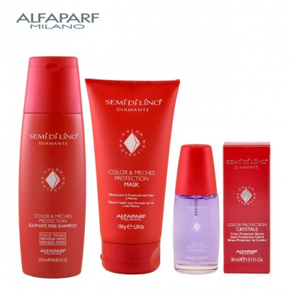 Shampoo Color & Meches Protection x250ml + Máscara Color & Meches Protection x150ml + Serum Color Protection Crystals X30ml Semi Di Lino Diamante Alfaparf