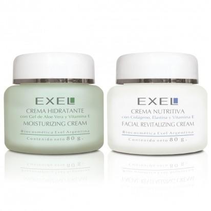 Tratamiento facial Exel: Crema Hidratante con gel de Aloe Vera + Crema Nutritiva Revitalizante Facial con colágeno