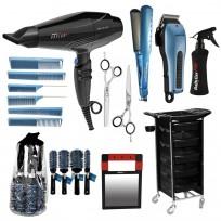 Combo Tijera Corte + Tijera Pulir + Pulverizador + Pack Cepillos + Pack Peines + Espejo + Secador + Plancha + Maquina de Corte + Ayudante