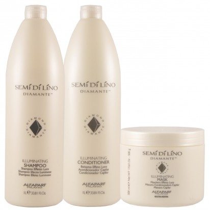 Shampoo Illuminating x1000ml + Acondicionador Illuminating x1000ml + Máscara Illuminating X500gr Semi Di Lino Diamante Alfaparf