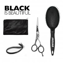 Kit Jaguar Black: Tijera de Corte Black Patty 5.5'' + Cepillo Circular + estuche