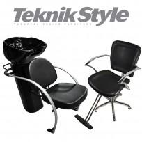 Combo 1 Lavacabezas Excellence Teknikstyle + 1 Sillon de Corte Hidráulico JPN Teknikstyle