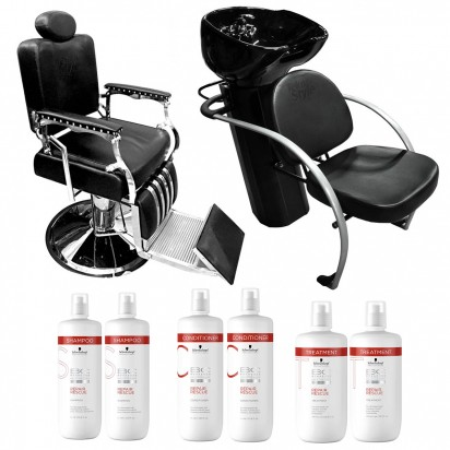 Sillón Barbero + Lavacabezas Excellence + 2 Shampoo + 2 Acondicionador + 2 Tratamiento Schwarzkopf