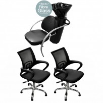 Combo: 2 Sillones a Gas Day Luxury + Lavacabezas Excellence FG TeknikStyle