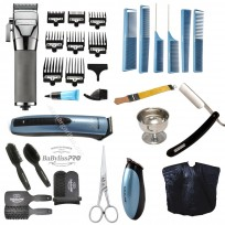 Combo Barberia Babyliss PRO: Maquina Corte Fade 880 + Pack Cepillos Barber + Patillera + Tijera + Navaja + Accesorios