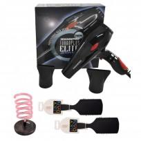 Secador de Pelo Profesional New Turbo Elite Plus 2800 Teknikpro + Posasecador Espiral de Mesa LucyDan + Cepillo Spazzola Cerdas de Nylon LucyDan