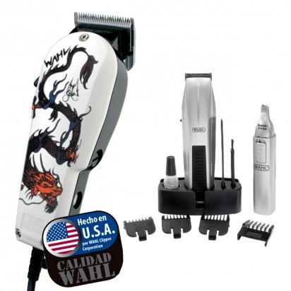 Combo Wahl Maquina de Corte Super Taper Dragon + Patillera + Nasal Mustache & Beard Battery Trimmer Wahl