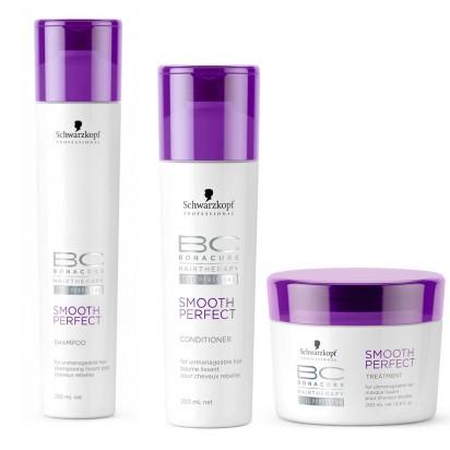 Pack BC Smooth & Shine: Shampoo x 250ml + Acondicionador x 200ml + Tratamiento x 200ml