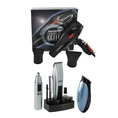 Secador de Pelo Profesional New Turbo Elite Plus + Trimmer + Nasal Mustache & Beard Wahl + Mini Trimmer Profesional The Pattern con Cuchilla Para Dibujar Babyliss Pro