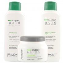 Pack Profesional Super Acido Primont: Shampoo + Acondicionador + Tratamiento