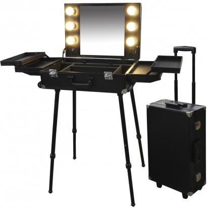 Portable Beauty Salon: Maletin Valija Camarin de Trabajo Maquillaje Peluqueria Premium con Luz