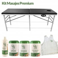 Kit Masajes Premium: Camilla Importada Reforzada + Aceite para Masajes + Crema Base + Crema Sedante + Crema Termogénica + Poncho de REGALO!
