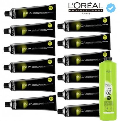 12 Tintura Inoa L'Oréal Professionnel Sin Amoníaco - Coloración x 60grs + Oxidante Revelador Inoa x 1lt. (10/20/30 Volumenes) L'Oréal Professionnel