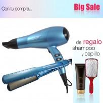 Combo Babyliss PRO: Plancha para Alisados Humedo Seco 2073 + Secador Iónico 2200W BaByliss PRO + Shampoo Schwarzkopf y Cepillo de Regalo!!