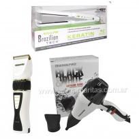 Combo Plancha Brazilian 9559 Babyliss Pro + Secador Black & White Teknikpro + Máquina de Corte Profesional Black & White Teknikpro