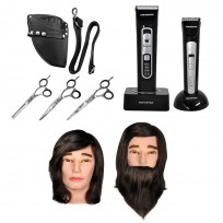 Combo Pack Peluquería Profesional + Jay 2 Set + Cabeza Práctica Hombre + Cabeza de Práctica con Barba