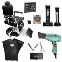 Sillón Barbero Retro + Máquinas de Corte + Tijeras y Navajín + Secador de pelo Profesional + Peinador