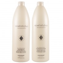 Shampoo Illuminating x1000ml + Acondicionador Illuminating x1000ml Semi Di Lino Diamante Alfaparf