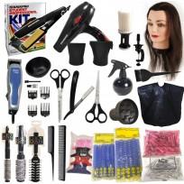 Kit Student Professional 1 / Secador + Plancha Teknikpro + Set Tijeras y Navajín + Cabeza de Práctica + Máquina  Wahl + Accesorios de Peluqueria