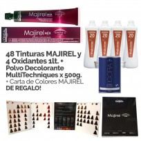 Promo Coloración Majirel Loreal: 48 tinturas Majirel + 4 Oxidantes x 1000ml + Polvo Decolorante Blond Studio x 500gr + Carta de Colores