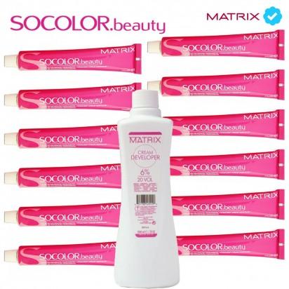 12 Tinturas SoColor Matrix x 60gr. + 1 Oxidante Matrix x 950ml. de regalo!
