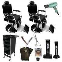 Combo Sillones Barbero Retro + Herramientas de Peluquería