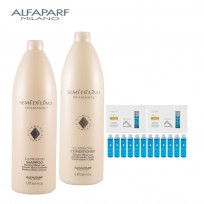 Shampoo Illuminating X1000ml + Acondicionador Illuminating X1000ml + 12 AMPOLLA OIL Illuminating X15ml Semi Di Lino Diamante Alfaparf