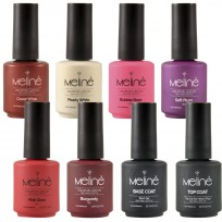 6 Esmaltes Semipermanentes LED/UV Gel Color + Top Coat + Base Coat Meliné