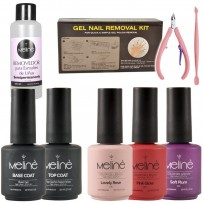 Combo Esmaltado Semipermanente Gel UV/LD Color + Base Coat + Top Coat + Removedor Meliné