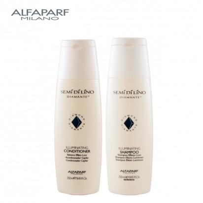 Shampoo Illuminating X250ml + Acondicionador Illuminating X250ml Semi Di Lino Diamante Alfaparf