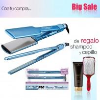 Set de Planchas Profesionales para Alisado 3074 + 3072 Nano Titanium Babyliss PRO + Shampoo Schwarzkopf y Cepillo de Regalo!!