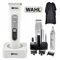 Máquina Recargable High Performance Ceramic Titanium WPRO + Trimmer + Nasal Mustache & Beard Wahl + Peinador