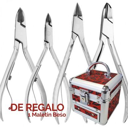 Set de 4 Alicates Mundial: Cortauñas 520 - 528, Alicate Cuticulas 522 y Recto 776 + REGALO!!!