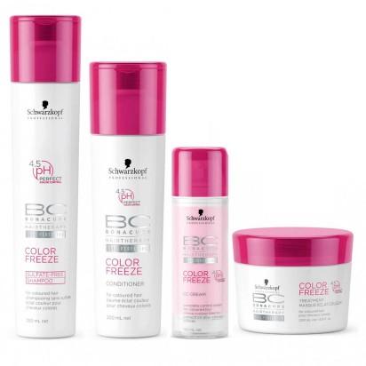 Pack BC Color Freeze Schwarzkopf: Shampoo x250ml + Acondicionador x200ml + Tratamiento x200g + Crema TermoProtectora x125ml