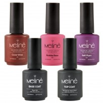 3 Esmaltes Semipermanentes LED/UV Gel Color + Top Coat + Base Coat Meliné