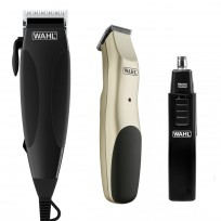 Maquina de Corte Home Cut 16 Piezas WAHL + Trimmer de Corte Patillera a pilas Groomsman Wahl + Wet and Dry Trimmer Nasal Wahl