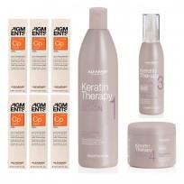 Combo Alisado Progresivo Keratin Therapy Alfaparf: Shampoo + Crema Desenredante + Crema Alisante + Máscara + 6 Pigmentos
