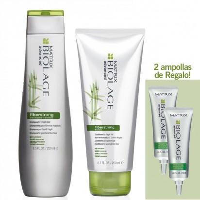 Shampoo Biolage FiberStrong Matrix x 250ml + Acondicionador Biolage FiberStrong Matrix x 200ml + 2 Ampollas de REGALO!