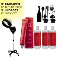 Combo Coloración Schwarzkopf: 30 tinturas Igora + Vaporizador + 3 Oxidantes + Accesorios