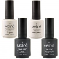Kit Esmaltado Semipermanente French Meliné: Base Coat + Top Coat +Via Lactea + Blanco