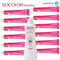 12 Tinturas SoColor Matrix x 60gr. + 1 Oxidante Matrix x 950ml. de regalo!