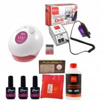 Combo 3 Esmaltes On Off + Cabina UV + Torno Comfort + Removedor + Wipes + Kit Gel Removal