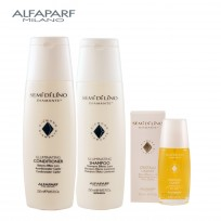 Shampoo Illuminating X250ml + Acondicionador Illuminating  X250ml + Serum Cristalli Liquidi X50ml Semi Di Lino Diamante Alfaparf