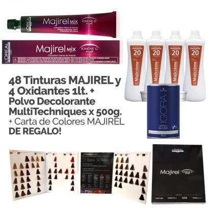 Promo Coloración Majirel Loreal: 48 tinturas Majirel + 4 Oxidantes x 1000ml + Polvo Decolorante Blond Studio x 500gr + Carta de Colores