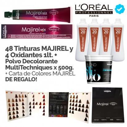 Promo Coloración Majirel Loreal: 48 tinturas Majirel + 4 Oxidantes x 1000ml + Polvo Decolorante MultiTechniques x 500g + Carta de Colores