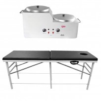 Combo Camilla Importada Reforzada + Calentador de Cera x6 kg TeknikPro Spa