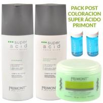 Pack Super Ácido Primont: 1 Shampoo x410ml + Acondicionador x410ml + Tratamiento x500g + 2 Ampollas Seda Y Lino DE REGALO